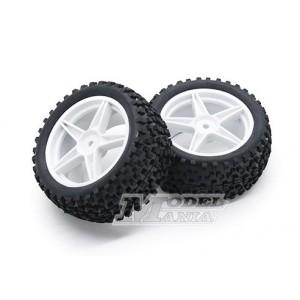 Neumático + LLanta 5 Radios Buggy 1:10 Traseros