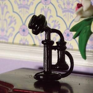 Teléfono Negro Antiguo Miniatura